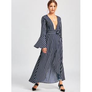 Striped Plunged Flare Sleeve High Low Dress - PURPLISH BLUE S