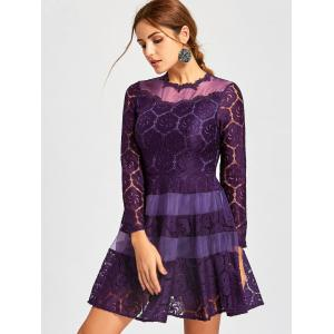 Mini Lace A Line Dress - PURPLE M