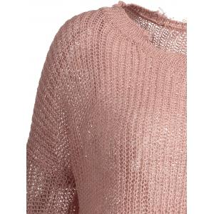 Asymmetric Plus Size Distressed Sweater - LIGHT PINK ONE SIZE