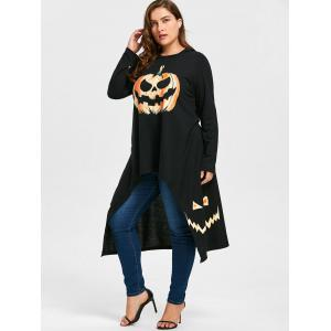 Plus Size Hooded High Low Halloween Pumpkin Tee -