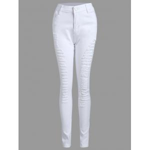 High Waist Skinny Ripped Pants - WHITE S
