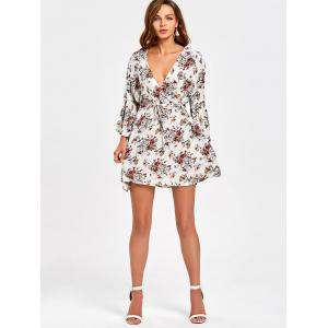 Surplice Flare Sleeve Floral Printed Dress - Multicolore M