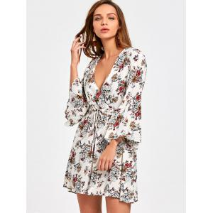 Surplice Flare Sleeve Floral Printed Dress - COLORMIX 2XL