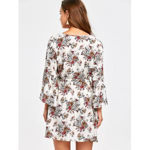 Surplice Flare Sleeve Floral Printed Dress - COLORMIX S