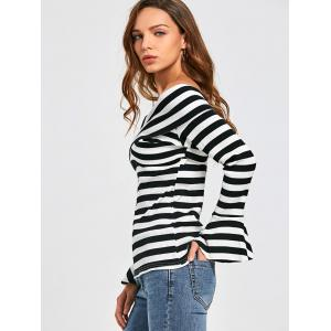 Front Cross Flare Sleeve Striped Top -