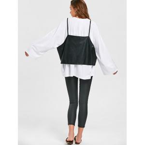 Long Sleeve Oversize T-shirt+PU Leather Caim Top -