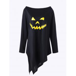 Halloween Plus Size Graphic Asymmetric Pullover Sweatshirt - BLACK 3XL