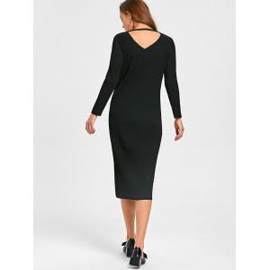 Cut Out Long Sleeve Mid Calf Ribbed Dress - BLACK L
