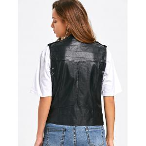 PU Leather Epaulet Zipper Pockets Waistcoat - BLACK M