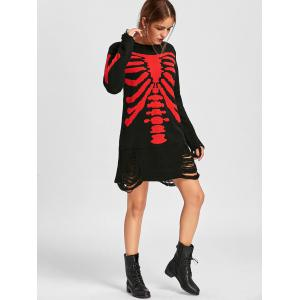 Halloween Distressed Skeleton Jumper Dress - BLACK RED XL