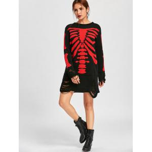 Halloween Distressed Skeleton Jumper Dress -