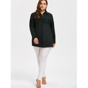 Lace Embroidered Button Up Plus Size Long Shirt -