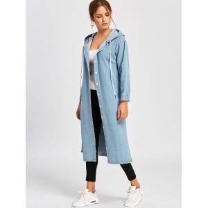 Drawstring Hooded Denim Jacket -