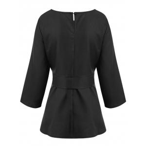 Plus Size Skirted Belted Blouse -
