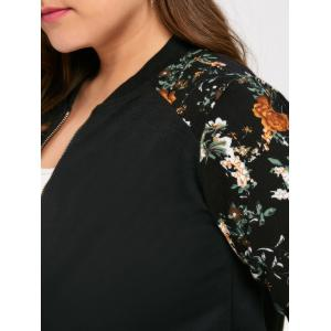Plus Size Floral Printed Raglan Sleeve  Jacket -