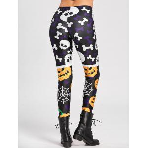 Pumpkin Spider Web Skull Halloween Leggings -