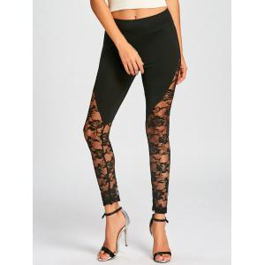 Leggings Collants à Taille Haute à Empiècement en Detelle -