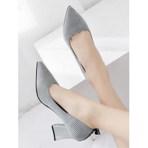 Chunky Heel Stripes Pointed Toe Pumps -