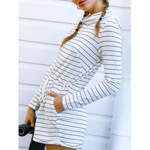 Striped Cowl Neck Long Sleeve Romper -