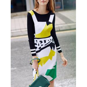 Color Block Sheath Fitted Pinafore Dress -