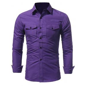 Slim Fit Double Pockets Fatigue Shirt -