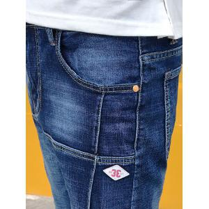 Stretchy Panel Applique Zipper Fly Jeans -