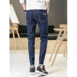Slim Fit Zipper Fly Straight Leg Jeans -