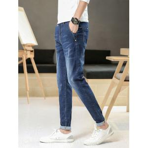 Straight Leg Slim Fit Bleach Wash Jeans -