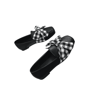 Slip On Square Toe Bowknot Flat Shoes -