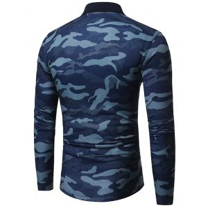 Camouflage Polo Collar T-shirt à manches longues -