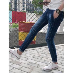 Bleach Wash Panel Stretchy Jeans -