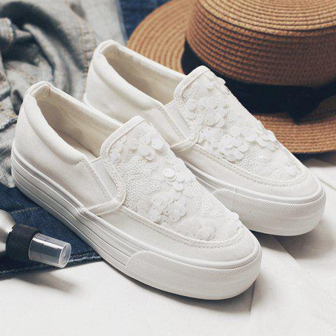 Latest Sequined Platform Canvas Slip On Sneakers