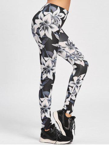 Outfits Low Waisted Floral Skinny Leggings - S WHITE AND BLACK Mobile