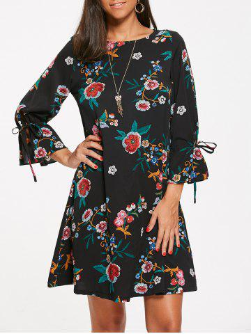 Flower Leaf Print Mini Shift Dress Noir S