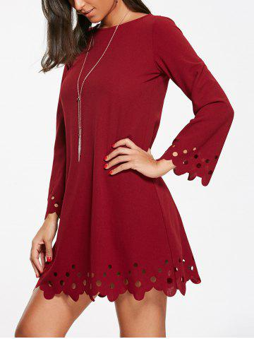 Chic Cut Out Trim Long Sleeve Shift Babydoll Dress - S WINE RED Mobile