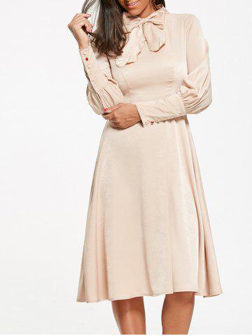 Fashion Bow Tie Collar Cuff Sleeve Flared Dress