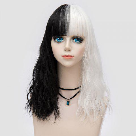 Unique Medium Full Bang Double Color Natural Wave Synthetic Party Wig - WHITE AND BLACK  Mobile