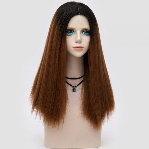 Longue partie médiane Fluffy Ombre Straight Synthetic Party Wig