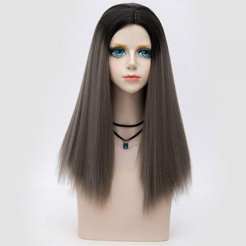 Cheap Long Middle Part Fluffy Ombre Straight Synthetic Party Wig DARK DEEP GREY OMBRE
