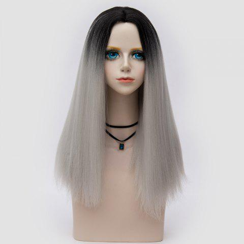 Fancy Long Middle Part Fluffy Ombre Straight Synthetic Party Wig