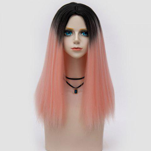 Trendy Long Middle Part Fluffy Ombre Straight Synthetic Party Wig - PAPAYA  Mobile
