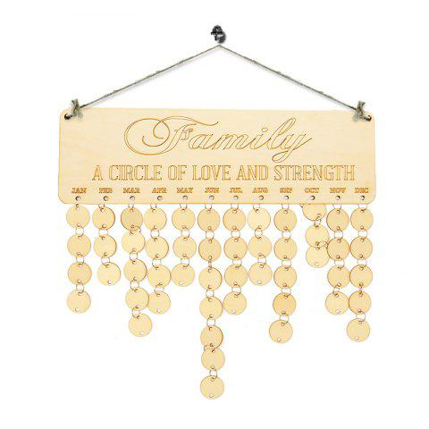 Hot DIY Wooden Family Birthday Calendar Reminder Board IVORY YELLOW