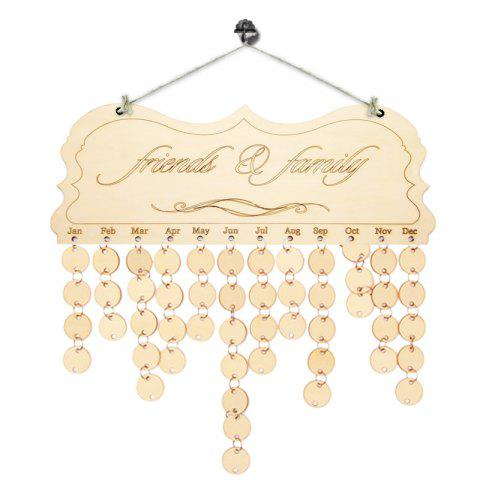 Chic DIY Wooden Friends And Family Birthday Reminder Calendar IVORY YELLOW