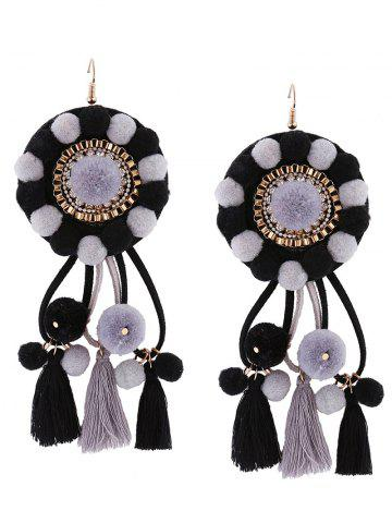 Rhinestone Floral Tassel Fuzzy Ball Earrings