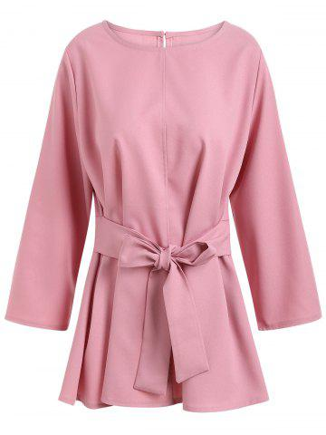 Hot Plus Size Skirted Belted Blouse PINK 2XL