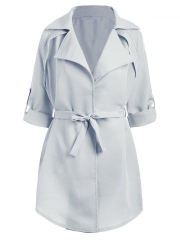 New Plus Size Lapel Raglan Sleeve Coat - 5XL LIGHT BLUE Mobile