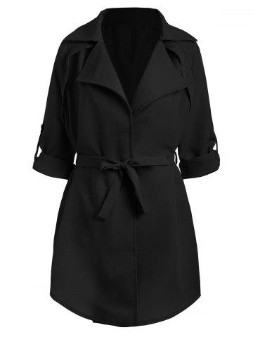 Shop Plus Size Lapel Raglan Sleeve Coat - 3XL BLACK Mobile