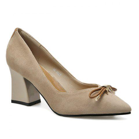 New Bowknot Faux Suede Block Heel Pumps - 36 APRICOT Mobile
