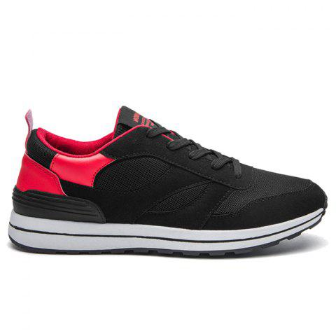Sale Color Block Mesh Low Top Athletic Shoes RED 43
