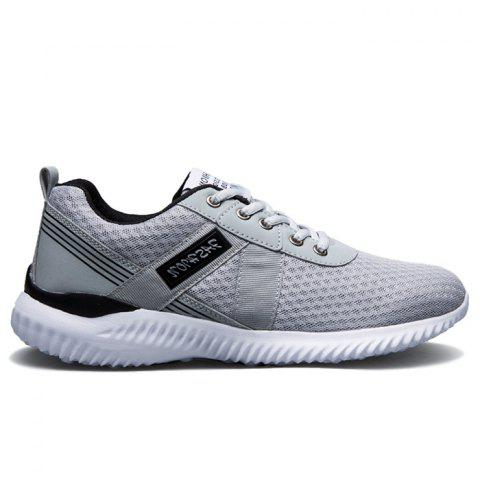Hot Breathable Mesh Lace Up Sneakers - 38 DEEP GRAY Mobile